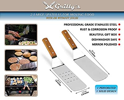 7 Pcs Professional Stainless Steel Spatula Set - Gas Griddle Grill Flat Top Accessories Great BBQ Tool Kit Set - Teppanyaki Tools - Tailgating BBQ Football Party - Griddle Spatula and Scraper Set