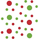 Lime Green/Red Vinyl Wall Stickers - 2 & 4 inch Circles (30 Decals)