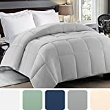 Cosy House Collection Premium Down Alternative Comforter - Silver - All Season Hypoallergenic Bedding - Lightweight and Machine Washable - Duvet Insert - Fits Full And Queen Size
