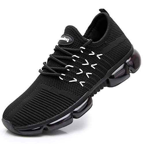 RomenSi Womens Breathable Slip On Tennis Walking Shoes Sport Fitness Jogging Mesh Air Running Sneakers Black 7.5 B(M) US (Best Walking Jogging Shoes For Women)