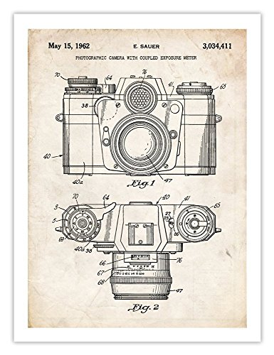 Vintage 35mm Camera Invention Poster 1962 US Patent Print 18x24 Sauer Photographic Photographer Gift (Camera Poster Antique)