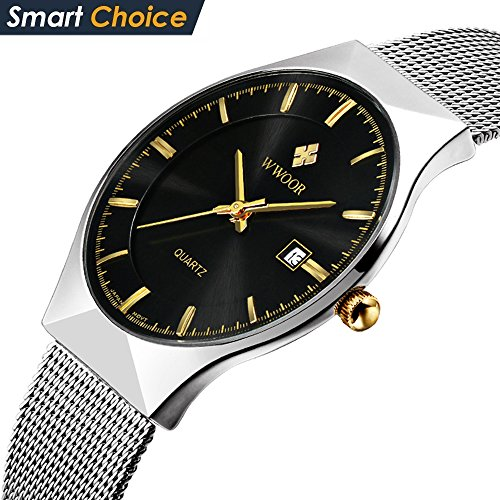 WWOOR Stainless Steel Watch Men Mesh Belt Calendar Quartz Watch coupons for Top Brand Luxury 003(black)