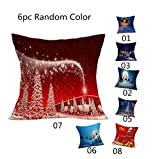 Gotd Home Decoration Christmas Pillow Cushion Cover Square Decorative Throw Pillow Cover Colored Pillowcases Cushion Christmas Gifts Ornaments Dector (6Pack)