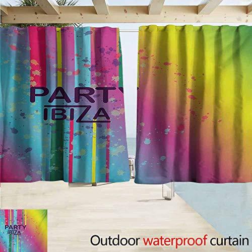 Wlkecgi Ibiza Indoor/Outdoor Curtains Rainbow Colored Grunge Paint Splashes Design with Party Ibiza Summer Season Festivity Room Darkening, Noise Reducing W63 xL72 Multicolor