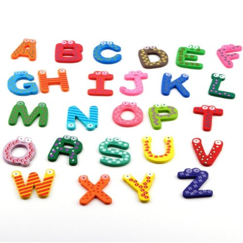 Nynoi Wooden Cartoon Alphabet ABC~XYZ Magnets Child Educational Wooden abc magnets refrigerator - Glasses Zion T