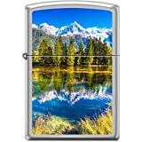 Zippo Snow Capped Mountians and Lake Satin Chrome Lighter