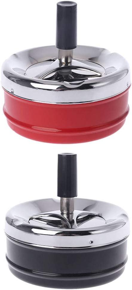 Ocobudbxw Posacenere Portatile Posacenere in Metallo con Coperchio Rotante per pressa Pratico portacenere