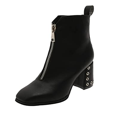 b834d156e40 Byste Women Split Leather Square Toe Solid Chunky Block Mid High Heel Ankle  Boots Ladies Leisure