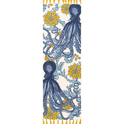 2 8 X 8 Blue White Octopus Runner Rug Rectangle Indoor