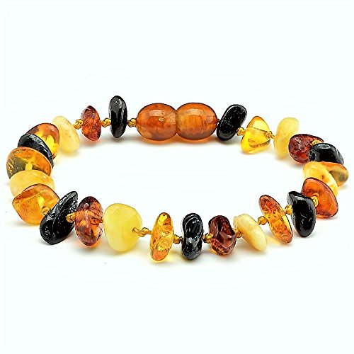 Lolly Llama Amber Teething Bracelet for Babies (Unisex) Teething Pain Relief - Certified Genuine Baby Baltic Amber Anklet (Multi-Stone)