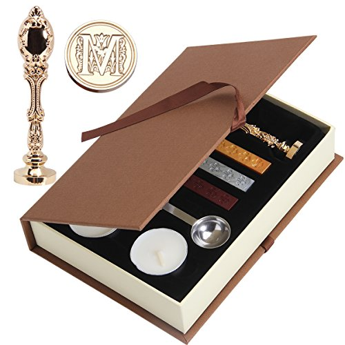 Wax Seal Stamp, PUQU Vintage Initial Letters Metal Handle Wax Envelope Seal Stamp Gift Set Kit,Gold(M)