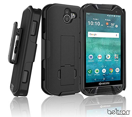BELTRON Kyocera DuraForce Pro 2 Case with Belt Clip Holster, Heavy Duty Slim Shell Holster Combo w/Built-in Kickstand for Kyocera E6900 E6910 E6920 (AT&T FirstNet Verizon) Duraforce Pro-2 (Black) (For Phone Kyocera Cases Verizon)