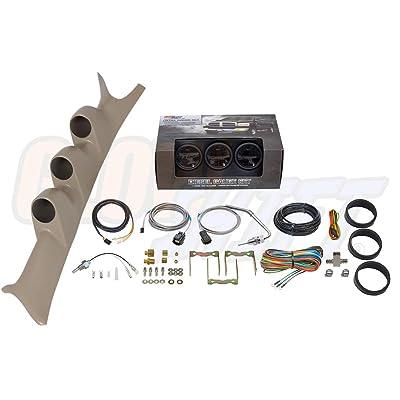 GlowShift Diesel Gauge Package for 1999-2007 Ford Super Duty F-250 F-350 6.0L 7.3L Power Stroke - Tinted 7 Color 60 PSI Boost, 2400 F Pyrometer EGT & Transmission Temp Gauges - Tan Triple Pillar Pod: Automotive