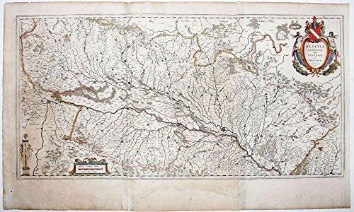 Alsatia Landgraviatus, cum Suntgoia et Brisgola... ORIGINAL antique map of the Alsace Wine Region