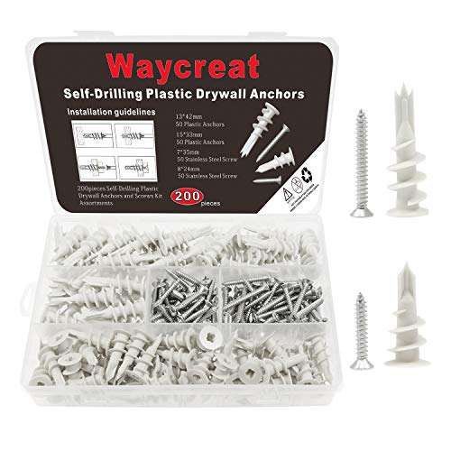 200pcs Self Drilling Drywall Hollow Wall Anchors with Self Tapping Screws Assortment ()