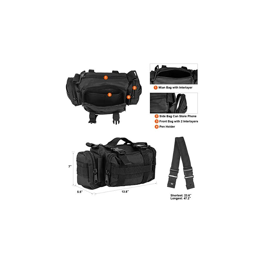 ZETOM Cycling Bicycle Bike Bag, Multi purpose Heavy duty Waterproof 800D Nylon Oxford Outdoors Bag, Bike Handlebar and Top Tube Bag, Shoulder Bag Waist Bag Messenger Bag (Black)