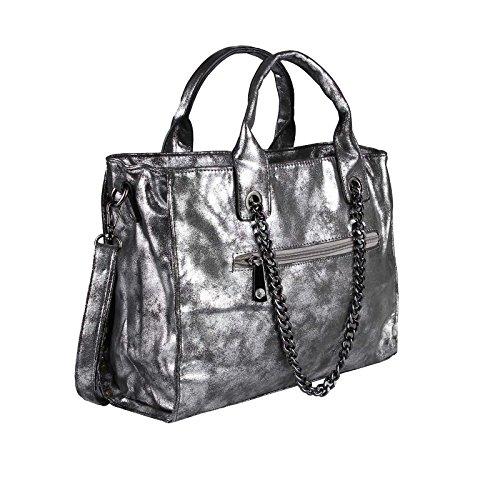 metallic approx Optic WOMANS Bag HANDBAG bag CHAIN silverware WxHxD 26x33x10 BAG leather Strap cm silverware bag Shoulder Studded SHqzOwS