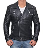 Negan Mens Black Genuine Leather Biker Jacket | L