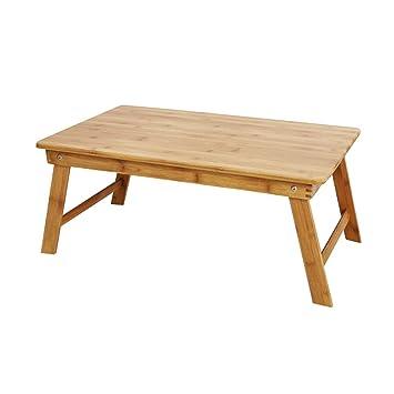 Wz Mesa para Ordenador Portátil De Bambú, Bandeja De Desayuno Plegable Soporte De Lectura para