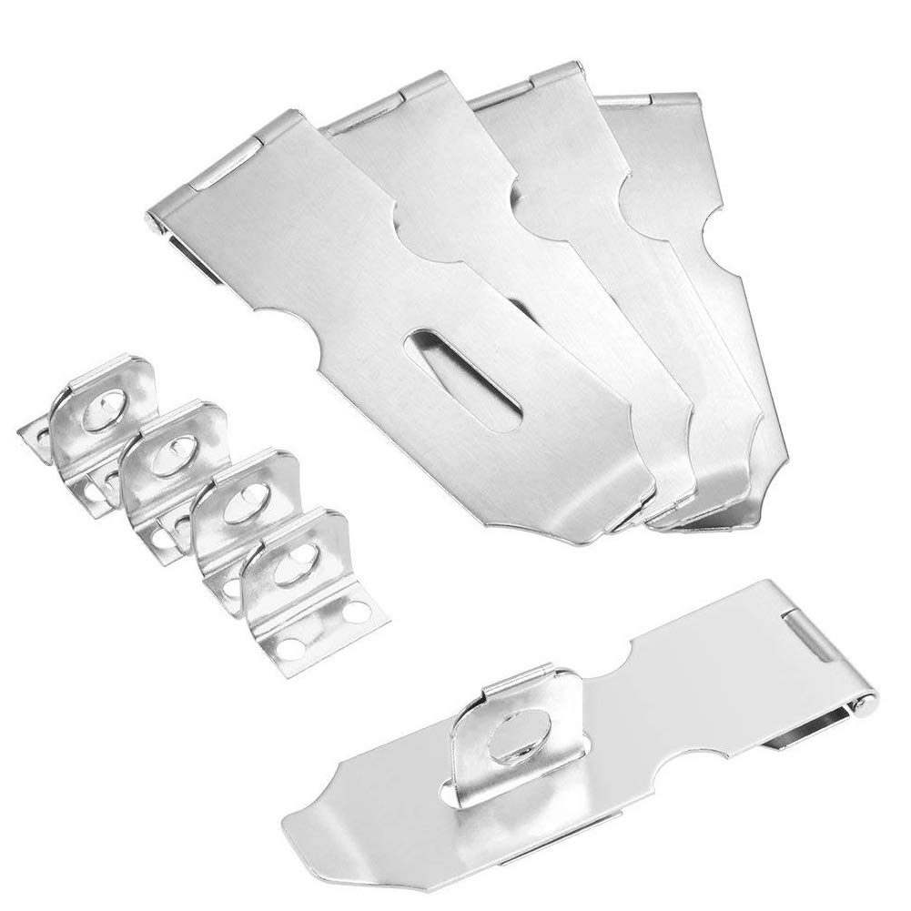 douper Overall Length 4-1/5'' 201 Stainless Steel Safety Hasp Pack of 5