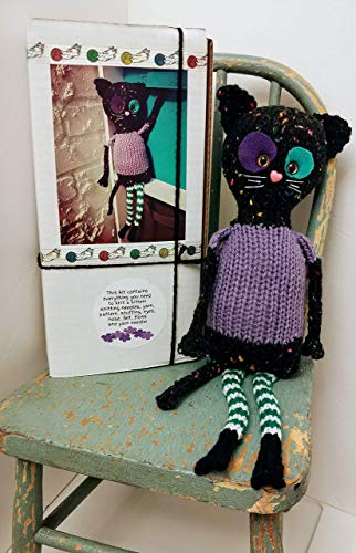 Knit your own Kitty Cat Kitten doll Kit DIY with pattern and knitting needles, yarn, felt, eyes, etc! Great different knitter gift, choose Violet or -