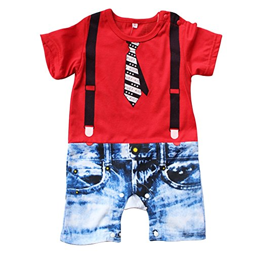 iiniim Baby Boys Gentlemen One Piece Romper Jumpsuit Outfit Clothing Red 6-12 (Communion Clothes For Boys)
