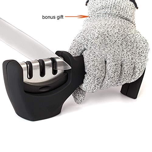 GREEN Knife Sharpener 3 Grade Sharpening System V-groove Black Handle Repair Kitchen Cutter Fruit or Blunt Knives Suitable for all Categories of metal Knives, Cut-Resistant Glove Included