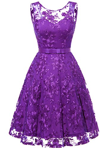 MUADRESS 6002 Women Wedding Party Dress Sleeveless Lace Embroidery Purple XL