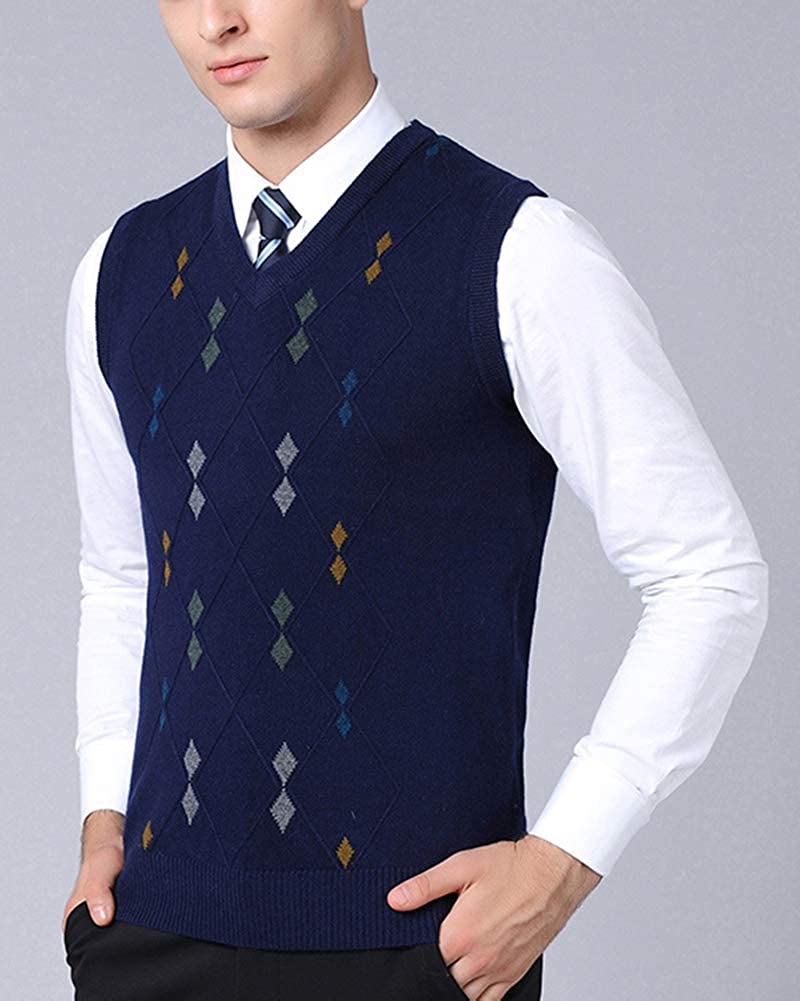 Mens Boys Sleeveless Jumper Stylish Knitted Pullover V-Neck Knitwear Slipover