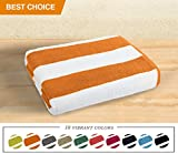 Luxor Linens- Large Beach & Pool Towel - 40''x70'' Oversized Cabana Stripe, Hotel Quality-Luxuriously Soft, Absorbent & Plush Towel Blanket - Luxury Anatalya Collection (1-pc, Orange)