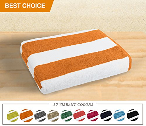 Luxor Linens- Large Beach & Pool Towel - 40x70 Oversized Cabana Stripe, Hotel Quality-Luxuriously Soft, Absorbent & Plush Towel Blanket - Luxury Anatalya Collection (1-pc, Orange)