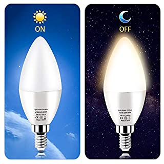 RAYHOO Dusk to Dawn Night Light Bulb E12 Base LED Sensor Bulb 6W, Incandescent 60W Bulb Equivalent, Automatic On/Off Security Lights Indoor/Outdoor 2-Pack (Warm White 3000K)