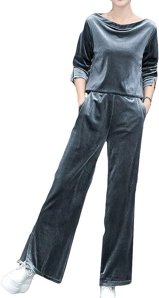 Activewear Sets for Women,Jushye Ladies Split Velvet Pants Sweatshirt 2 Piece Set Tracksuits Outfit Jogging Set