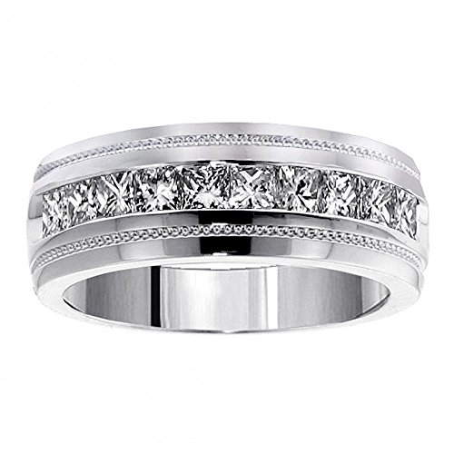 VIP Jewelry Art 1.00 CT TW Princess Cut Diamond Men's Ring in 18k White Gold Channel Setting - Size 12
