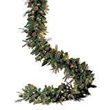 GKI/Bethlehem Lighting Pre-Lit PE/PVC Christmas Garland with 100 Clear Mini Lights, 6', Green River Spruce