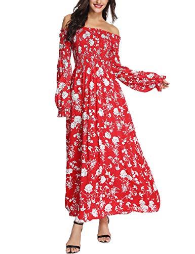 Azalosie Floral Off Shoulder Tube Dress Long Sleeve Empire Waist Bohemian Flowy Party Beach Long Maxi Dress ()