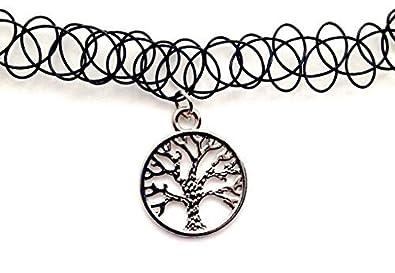 Tree Of Life Tattoo Choker Charm Stretch Necklace Black Retro Henna