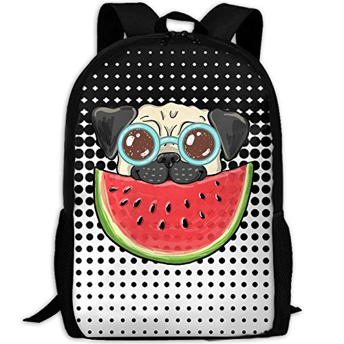 CY-STORE Pug Dog In Sunglasses Eating Watermelon Print