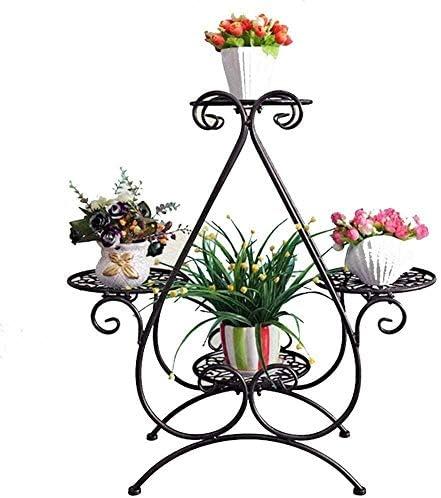 植物スタンド メタルフラワーポットフラワーポットディスプレイスタンドフロアスタンド多機能ハート4ティアフラワースタンドスタンド フラワースタンド (Color : Bronze)
