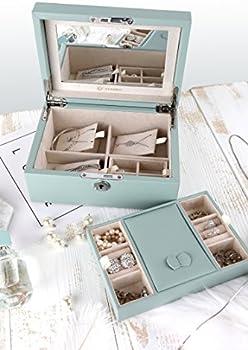 Vlando Pandora Jewelry Box Jewelry Organizer And Storage With Mirror And Tray Blue Buy Online At Best Price In Uae Amazon Ae