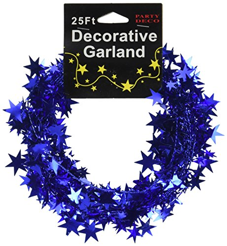 PARTY DECO Foil Star Garland, 25', Royal Blue -
