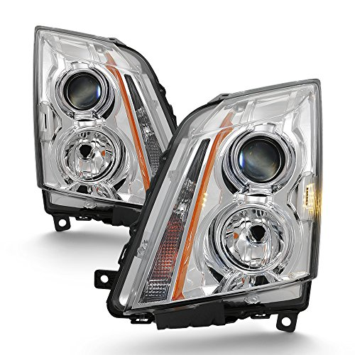 For 2008-2013 Cadillac CTS Projector Headlight Assembly Chrome Housing Clear Lens Full Set (Cadillac Cts Headlight Assembly)