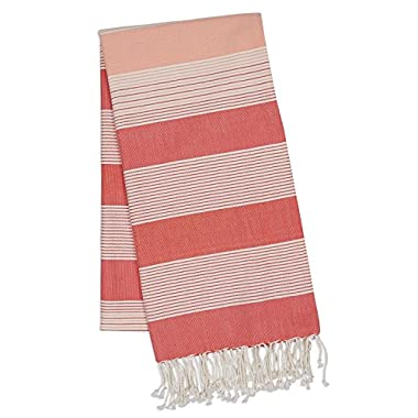 DII 100% Cotton, Machine Washable, Turkish Fouta Towel, Fast Drying, Ultra Soft & Absorbent, Multi Use Towel/Blanket, 39 x 78 - Coral Stripe