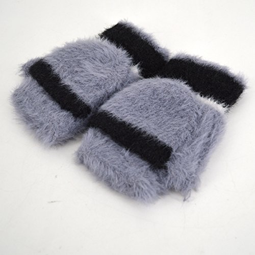 Women Cute Half Finger Gloves Flip Top Convertible Mittens Plush Faux Fur Mitts(Grey) by Mily (Image #4)