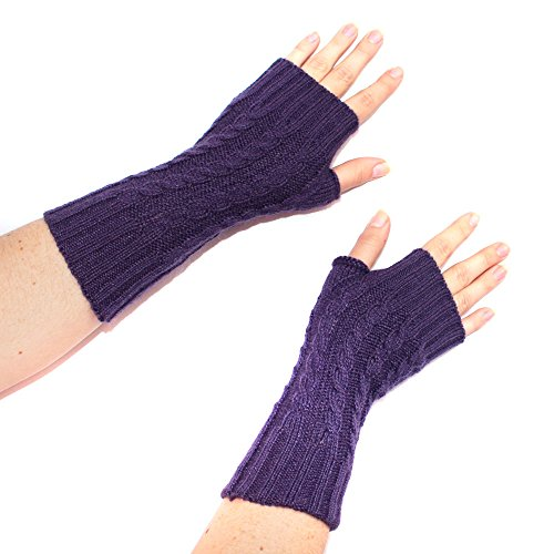 (FINGERLESS MITTENS GLOVES Alpaca Wool made in PERU (purple))