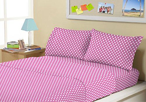 Kute Kids Super Soft Sheet Set - Pink Polka Dot - Brushed Microfiber for extra comfort (Polka Dot Full Bed Sheets)