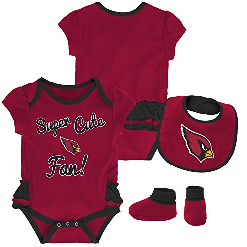 Outerstuff NFL NFL Arizona Cardinals Newborn & Infant Mini Trifecta Bodysuit, Bib, and Bootie Set Cardinal, 3-6 Months