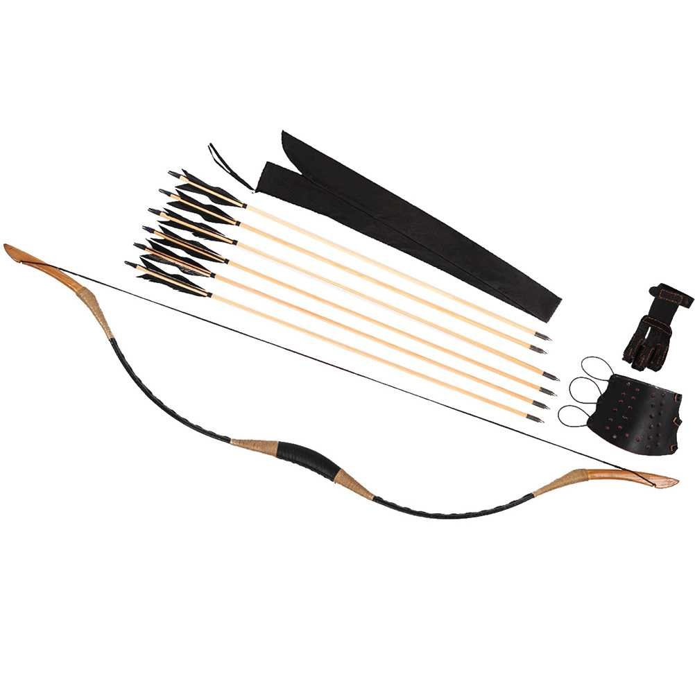 PG1ARCHERY Traditional Handmade Longbow Horsebow Archery Recurve Bow with Wooden Arrows & Arm Guard & Finger Tab 20lbs