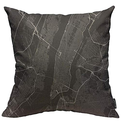 Mugod Throw Pillow Cover Black City with All Streets of New York Surroundings Map White Manhattan NYC Home Decor Square Pillow Case for Men Women Bedroom Livingroom Cushion Cover 18x18 Inch (Nyc Decorative Pillows)