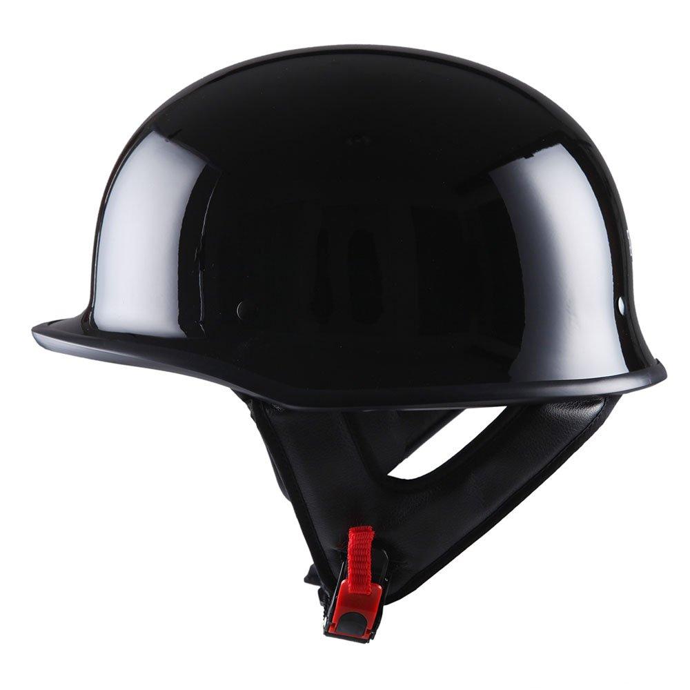 1STorm Motorcycle Half Face Helmet Mopeds Scooter Pilot Novelty German Style, Glossy Black